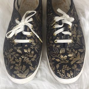 KEDS Riffle Paper Co Floral Gold Sneakers Size 8.5